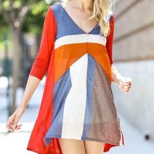 NWOT My Story 3/4 Sleeve Contrast Dress 3/4 Sleeve